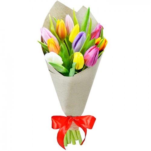 Букет из 11шт тюльпанов микс
